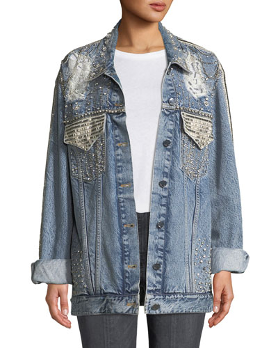 Oversized Embellished Denim Jacket