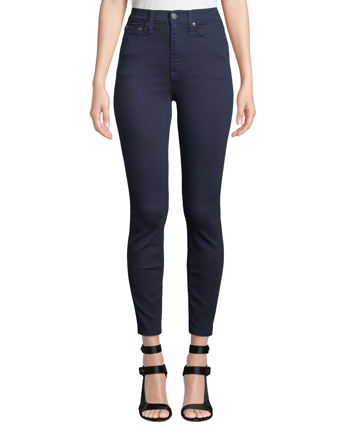 Good High Rise Exposed Button Fly Colored Jeans, Dark Blue