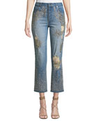 ALICE + OLIVIA JEANS Amazing Embellished Ripped High-Rise