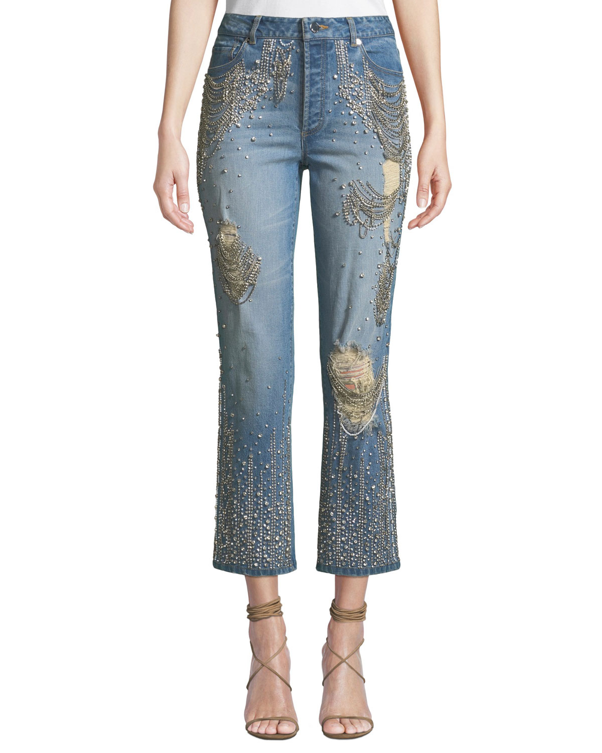 AO.LA BY ALICE+OLIVIA Amazing Embellished Ripped High-Rise Boyfriend Jeans in Medium Blue