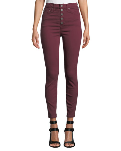 Good High-Rise Twill Skinny Jeans with Exposed Fly
