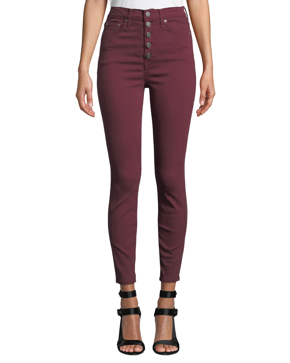 Good High-Rise Twill Skinny Jeans With Exposed Fly, Dark Red