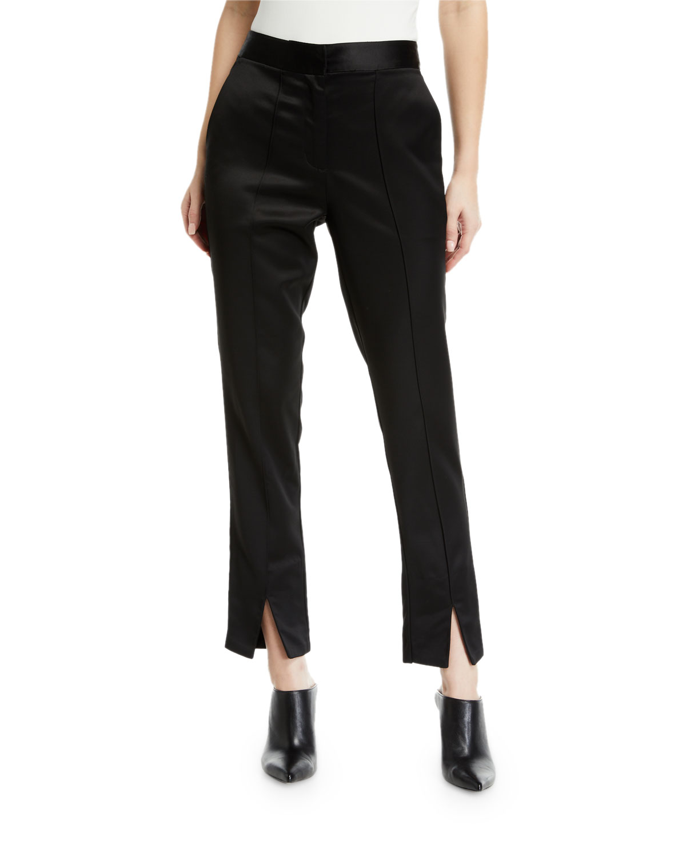 Satin Slim Split-Cuff Ankle Pants