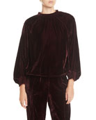 7 for all mankind Velvet Smocked Blouson-Sleeve Pullover