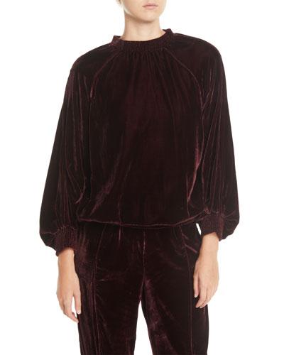 Velvet Smocked Blouson-Sleeve Pullover Sweater