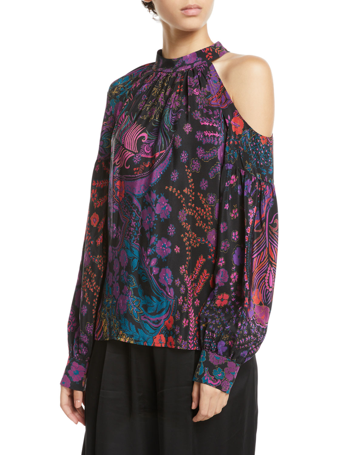 Cold-Shoulder Floral-Print Silk Top