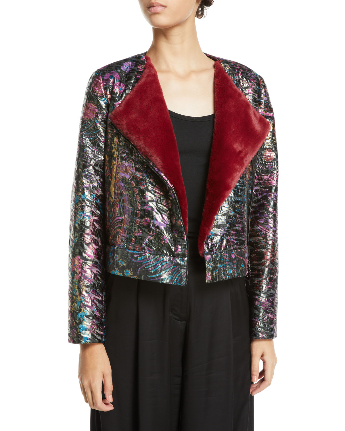 Metallic Jacquard Cropped Jacket with Faux-Fur Lining