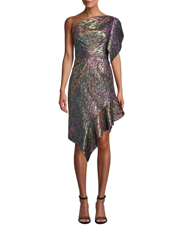 One-Shoulder Metallic Floral-Jacquard Daytime Dress
