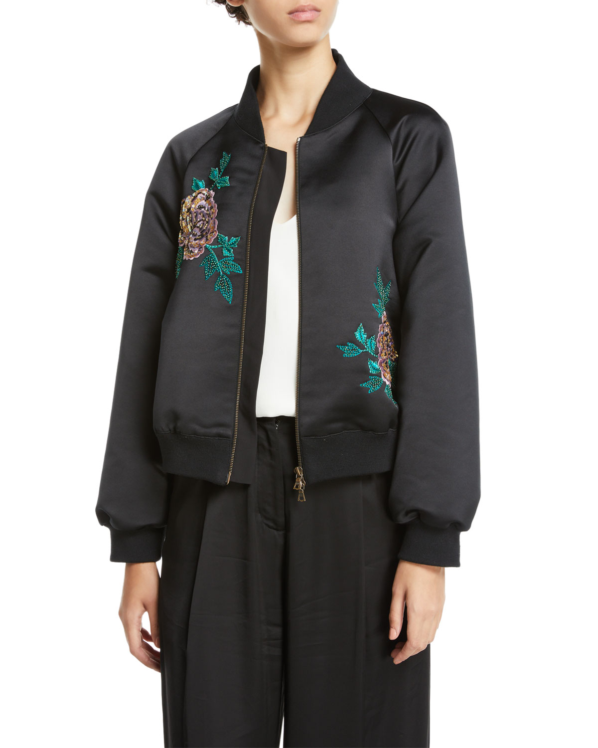 Peacock-Embroidered Zip-Front Bomber Jacket
