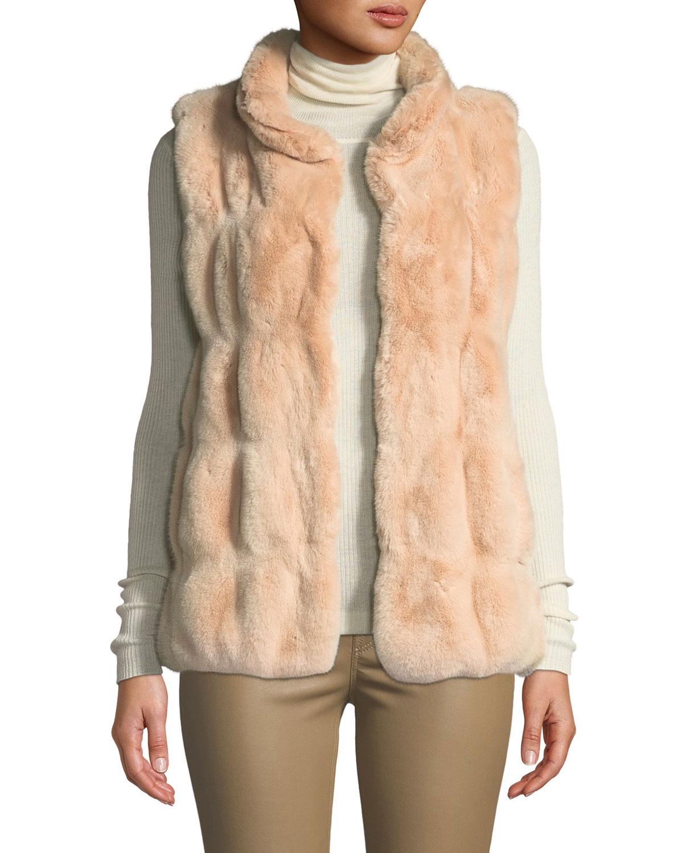 FABULOUS FURS Couture Faux-Fur Stand-Collar Vest in Glacier Gray