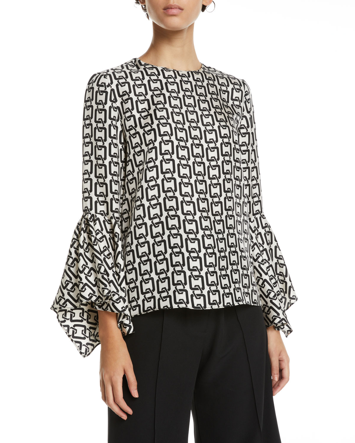 MILLY Holly Chain Print Bell Sleeve Chiffon Top in White
