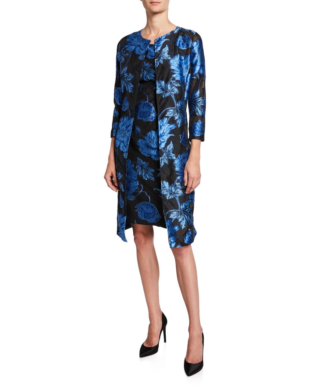 Two-Piece Floral Jacquard Dress & Topper Set