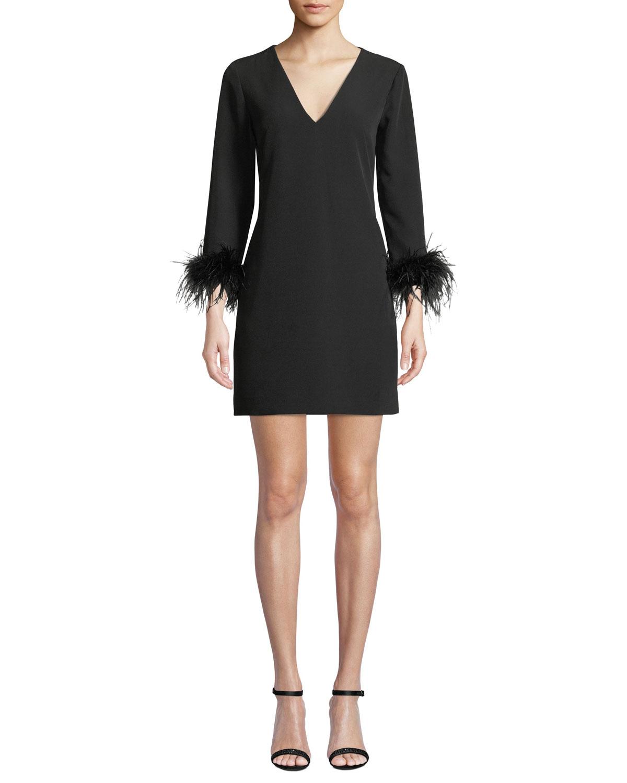 Nicole V-Neck Long-Sleeve Feather-Cuffs A-Line Mini Dress, Black