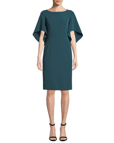 Mila Boat-Neck Butterfly-Sleeve Italian Cady Sheath Dress