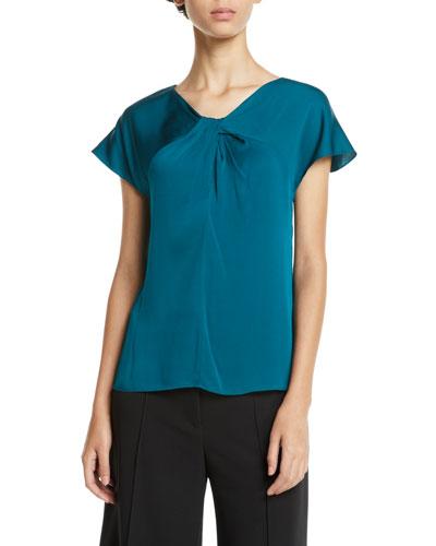 Tatiana Twist-Neck Cap-Sleeve Stretch-Silk Top