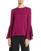 Milly Holly Jewel-Neck Flared-Sleeves Stretch-Silk Top and