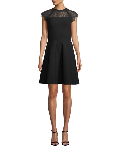 Lace-Yoke Cap-Sleeve Fit-and-Flare Short Dress
