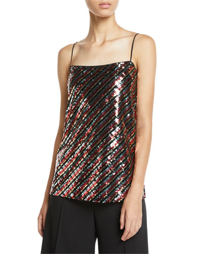 Striped Sequins Bias Camisole