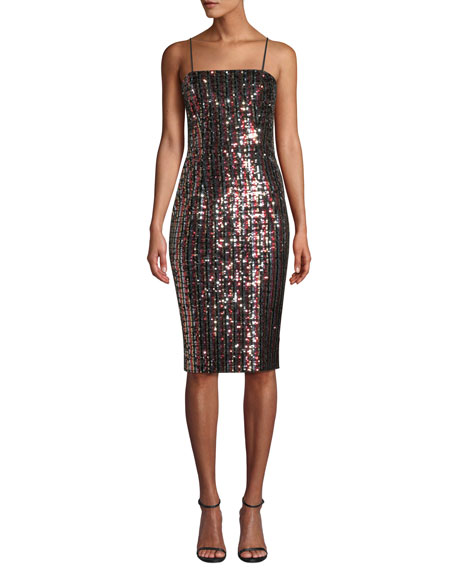 Milly Chrystie Square-Neck Sleeveless Striped Sequin Cocktail Dress