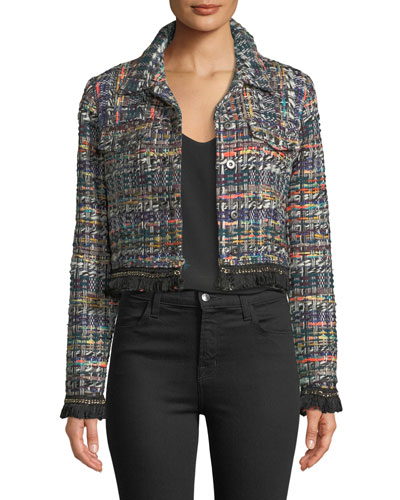 Button-Front Cropped Multicolor Tweed Jacket w/ Fringe Hem