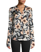 Christian Wijnants Tarani Floral Silk Charmeuse Button-Down Top