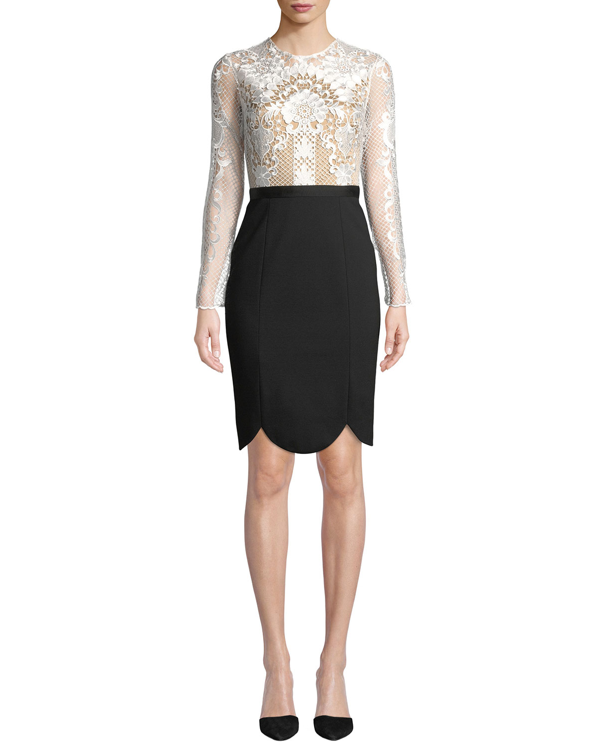 Latisha Long-Sleeve Dress w/ Lace & Ponte