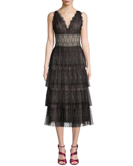 Catherine Deane Lala Midi Dress w/ Tiered Tulle Skirt