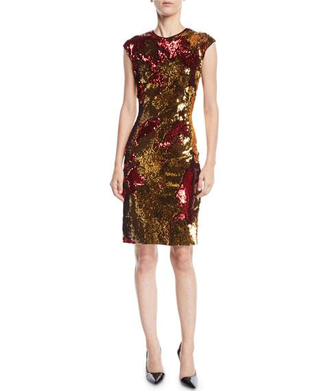 NK32 Naeem Khan Two-Tone Sequin Dress