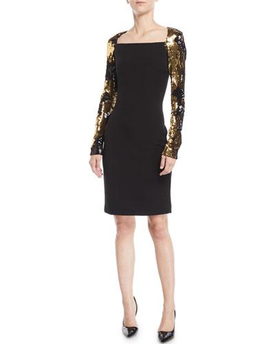 435532ec4f30 A Line Gold Dress | Neiman Marcus