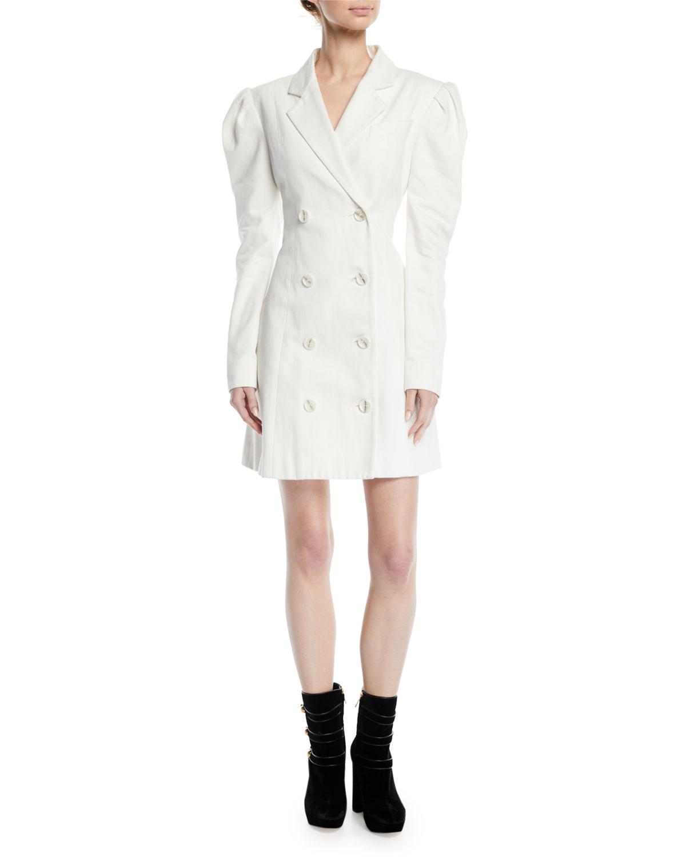 Leap Of Faith Puff-Sleeve Cotton Blazer Dress