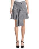 Maggie Marilyn Crowd Pleaser Tie-Front Gingham Mini Skirt