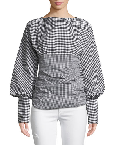 I Did It My Way Ruched Gingham Top
