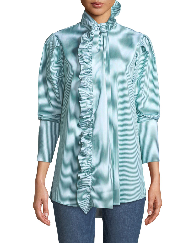 Second Nature Striped Ruffle Button-Down Shirt