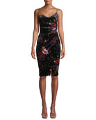 Black Halo Bowery Ruched Floral Velvet Dress