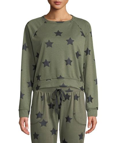 Star-Print Crewneck Pullover Sweatshirt