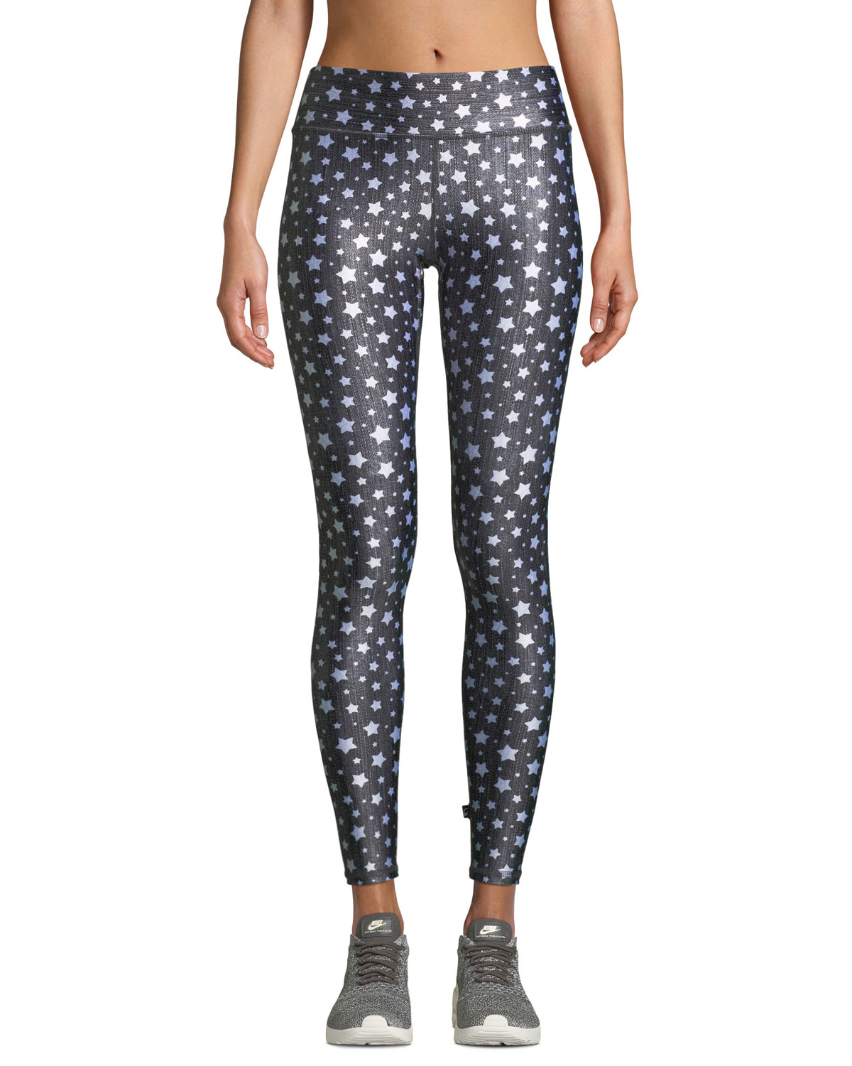 TEREZ Stars Tall Band Activewear Leggings in Black Pattern