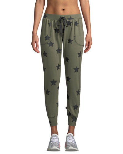 Star-Print Drawstring Jogger Pants