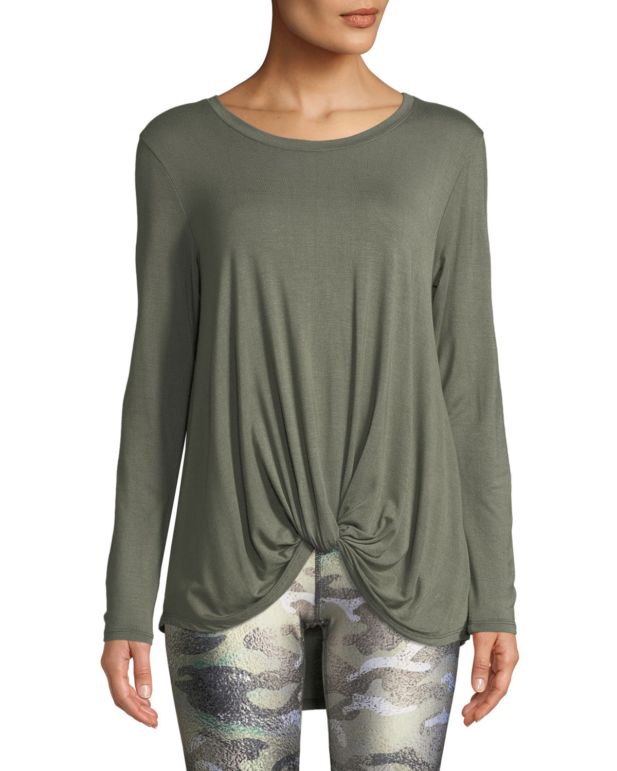 TEREZ Twist-Front Long-Sleeve Jersey Top in Army Green