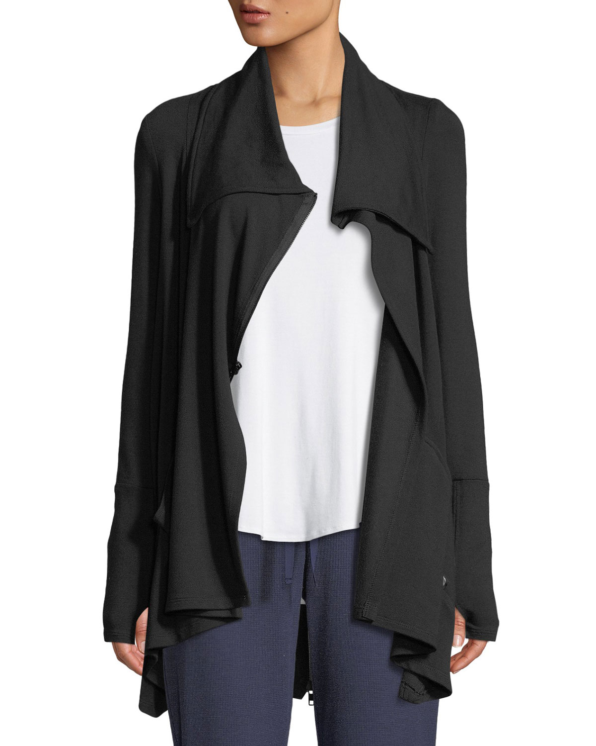 TEREZ Draped French Terry Zip-Front Jacket in Black Pattern