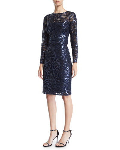 Sequin Swirl Long-Sleeve Dress