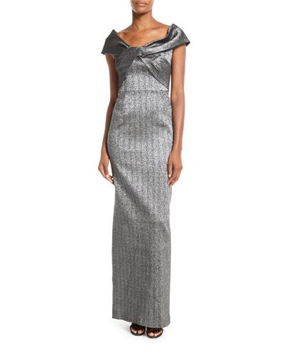 Metallic Twist-Front Jacquard Gown