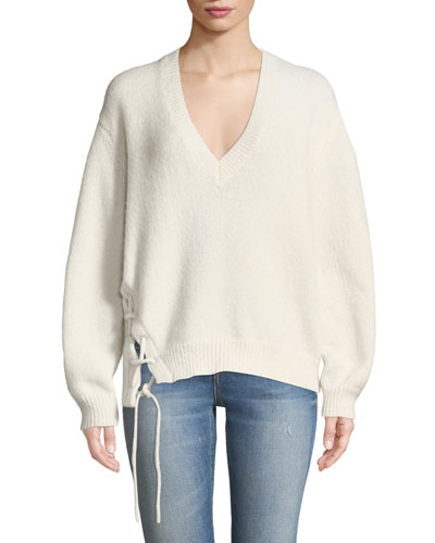 Mylo V-Neck Alpaca Sweater with Lace-Up Detail