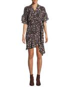 Iro Link Printed Viscose Flounce Wrap Dress