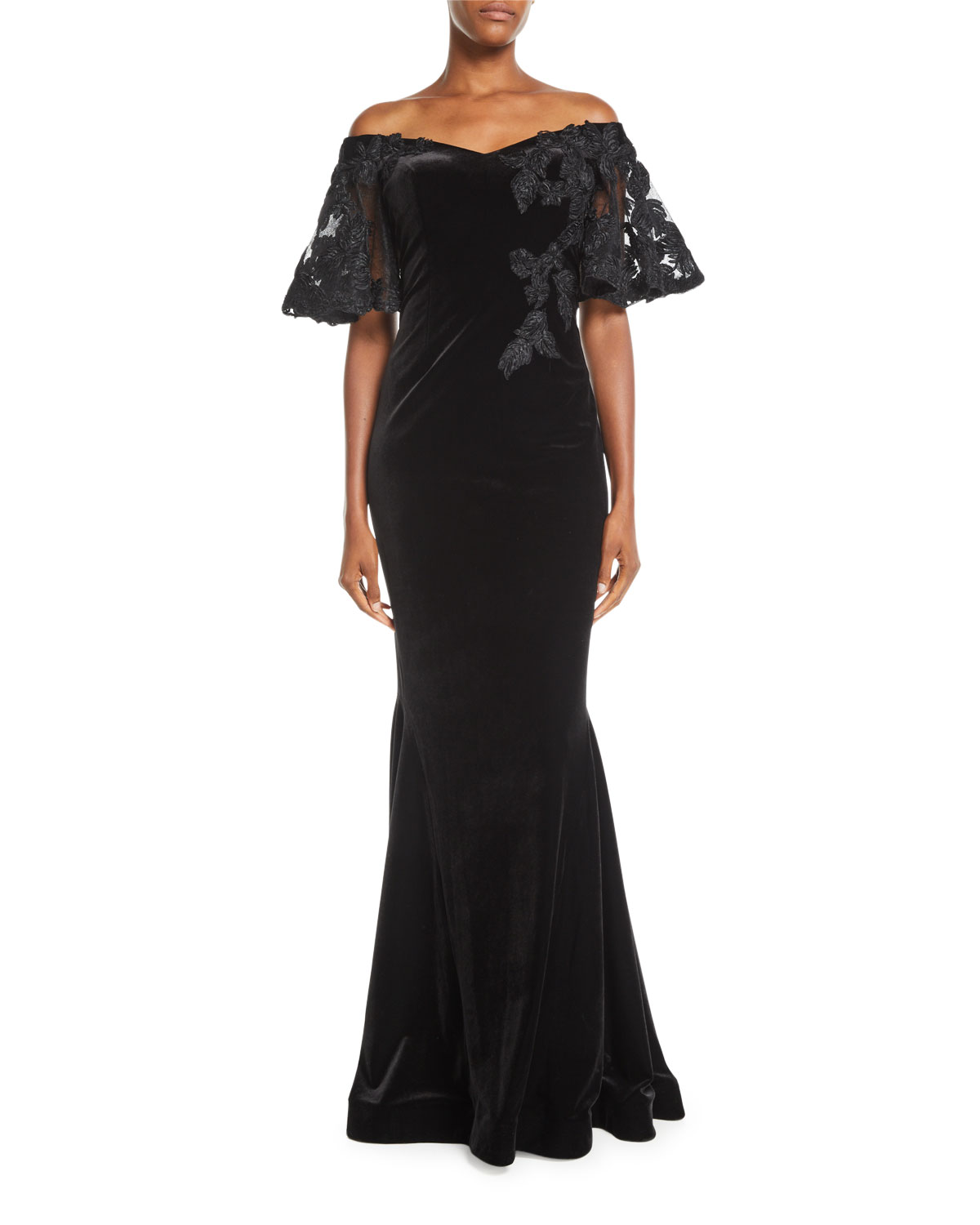 Off-the-Shoulder Velvet Mermaid Gown w/ Embroidery