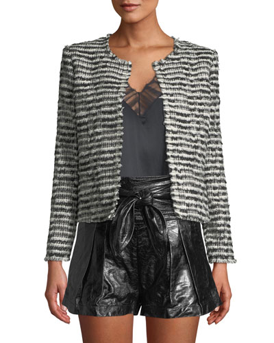 Emotion Open-Front Tweed Cropped Jacket
