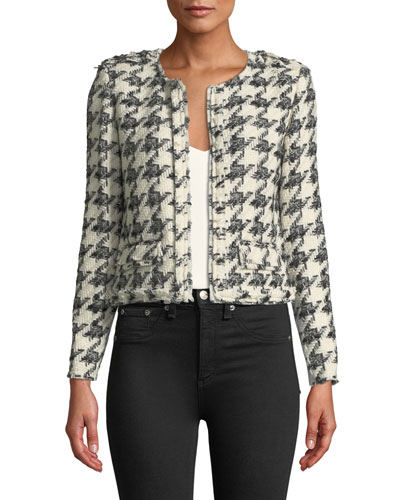 Hope Strong-Shoulder Cropped Tweed Jacket