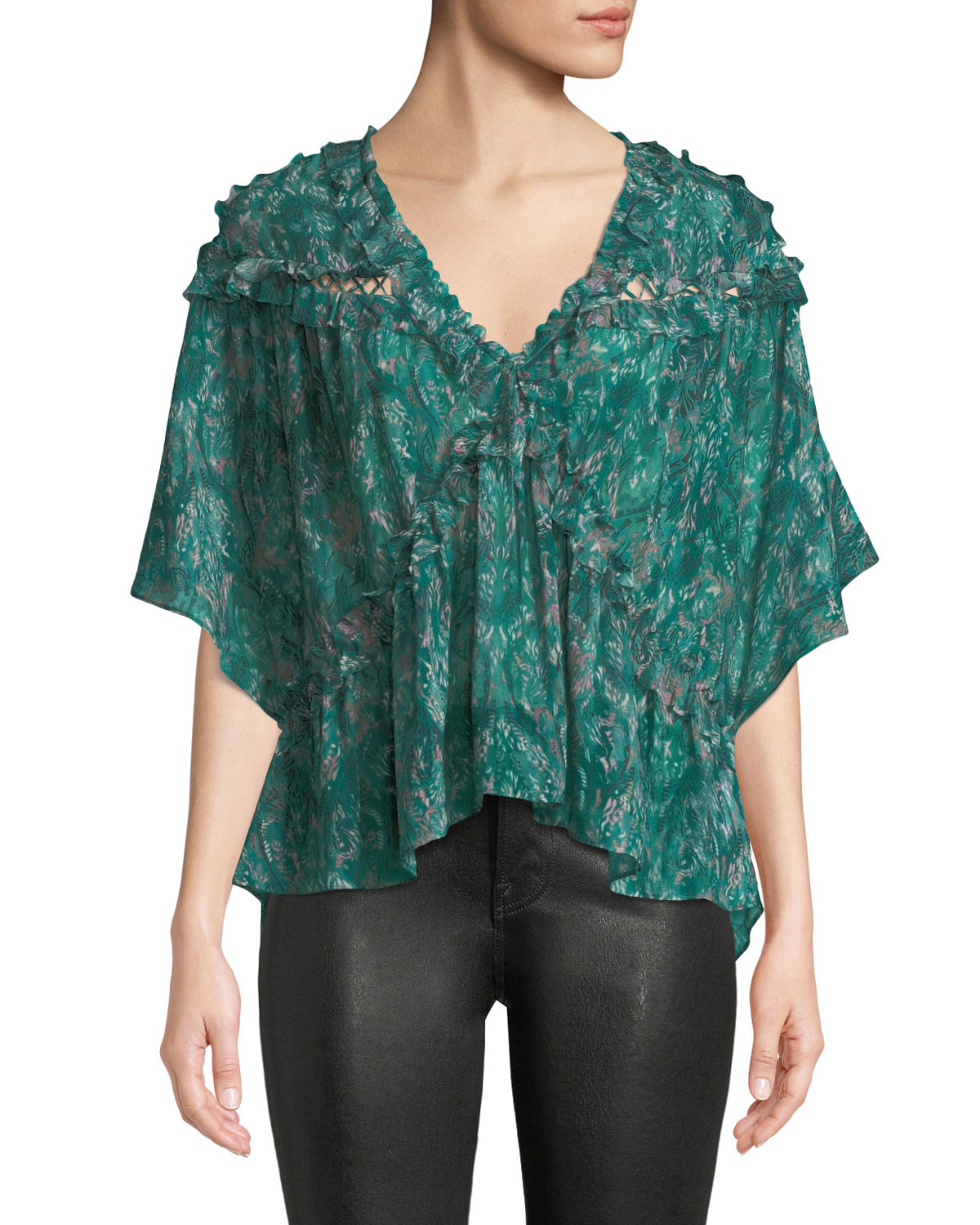 Date Printed Ruffle Viscose Top