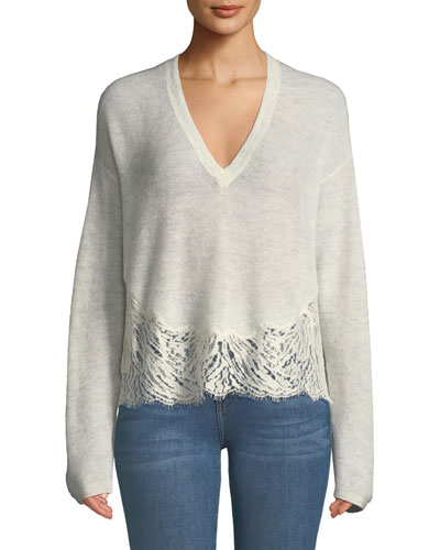 Hysteria Lace-Trim V-Neck Sweater