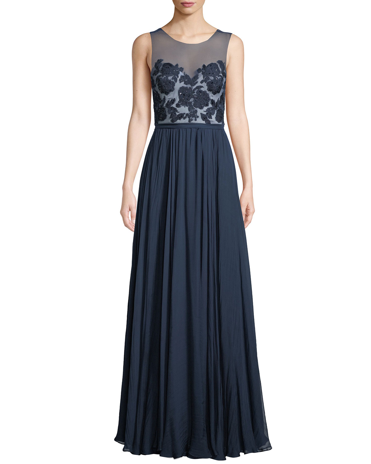Lilyana Sheer Gown w/ Tulle & Lace