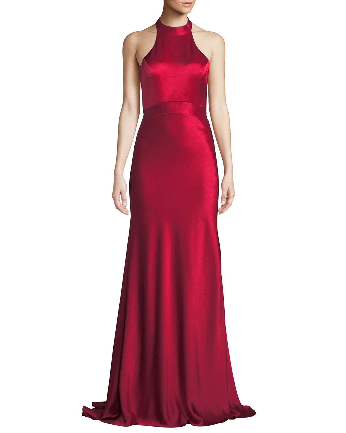 Kin Satin Halter Gown w/ Open Back
